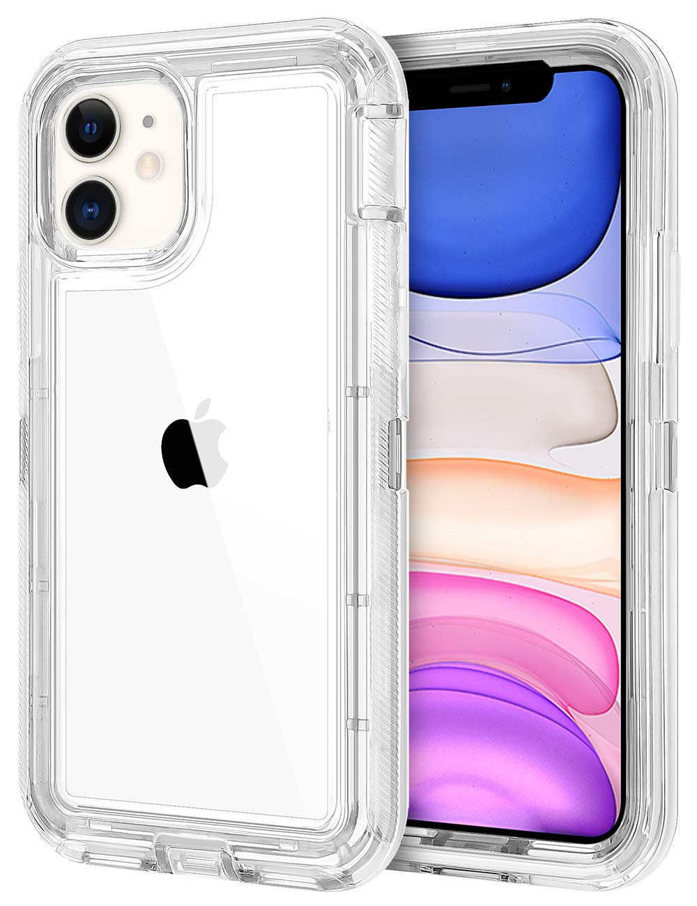 JAKPAK Case for iPhone 11 Case Clear Transparent Heavy Duty Protection for iPhone 11 Case Shockproof Anti Scratch Cover with Dual Layer PC Bumper TPU Back Case for iPhone 11 6.1inches Transparent