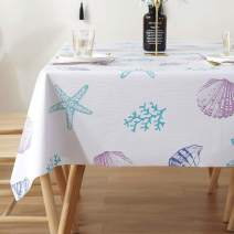 LOHASCASA Rectangle Tablecloth Vinyl Oilcloth Picnic PVC Wipeable Plastic Spillproof Peva Oil-Proof Waterproof Heavy Duty Homespun Floral Tablecloths Sea Shell 8ft 54x108 Inch