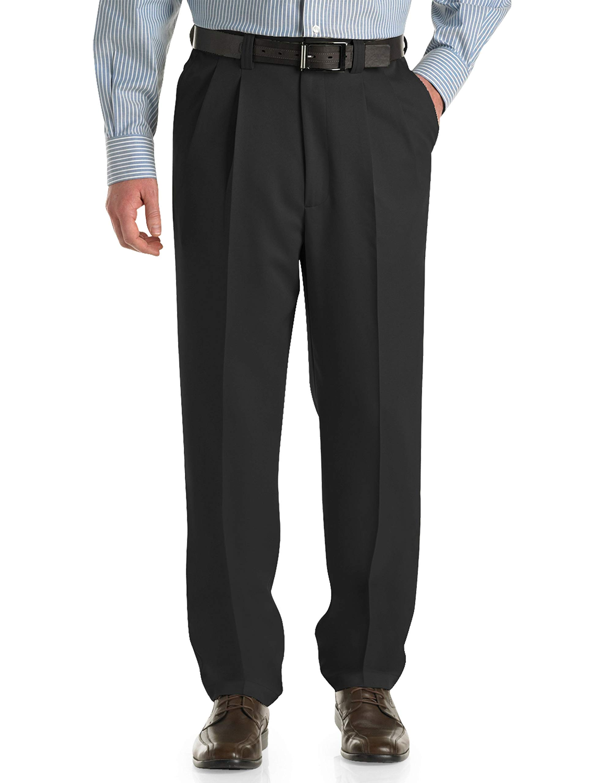 Oak Hill by DXL Big and Tall Waist-Relaxer Pleated Microfiber Pants