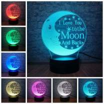 I Love You to The Moon and Back Romantic Night Light 3D LED Optical Illusion Lamps Home Decoration Bedroom Bedside lamp for Lover Baby & Lover & Couple & Sweetheart Best Unique Gift (Romantic Moon)
