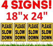 "Simpleone 4 X Please Slow Down Yard Signs 18"" X 24"" Double-Sided Safety Signs + Metal Ground Stakes Yellow (4 Pack)"