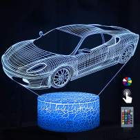 Night Lights for Kids Car 3D Night Light Bedside Lamp Car Toy Light 7 Colors Changing with Remote Control Best Christmas Gifts and Birthday Gifts for Boys Girls Kids Baby Children