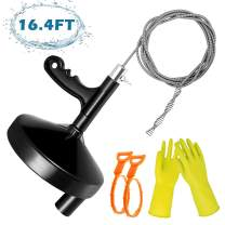 VIBIRIT Drain Snake Drain Clog Remover Tool,16.4 Ft Steel Drum Auger Plumbing Drain Snake for Removing Sink Clog, Bathtub Drain, Kitchen Sink, Sewer, Comes with Gloves