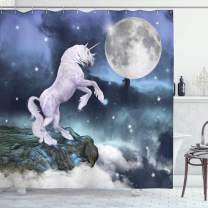 "Ambesonne Unicorn Shower Curtain, Creature up Cliffs Rocks in Full Moonlight Sky Fantasy Design Artprint, Cloth Fabric Bathroom Decor Set with Hooks, 70"" Long, Lilac Blue"