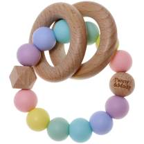 Baby Keepsake Rattles Teether for Boys and Girls Baby Shower, Sensory Teething Bracelet with Silicone Beads and Natural Organic Wooden Rings for Babies, Infants, Toddlers, Kids(Candy)