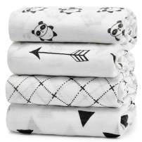 """KiddyCare Baby Swaddle Blankets Unisex Swaddle Wrap Silky Soft Bamboo Muslin Swaddle Blanket - Swaddles for Baby Boy and Girl - Large 47"""" x 47"""" inches - Set of 4"""