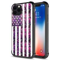 iPhone 11 Pro Max Case, Tempered Glass iPhone 11 Pro Max Cases Purple Camouflage Flag,Fashion Cute Pattern Design Cover Case for iPhone 11 Pro Max 6.5-inch Purple Camo Flag