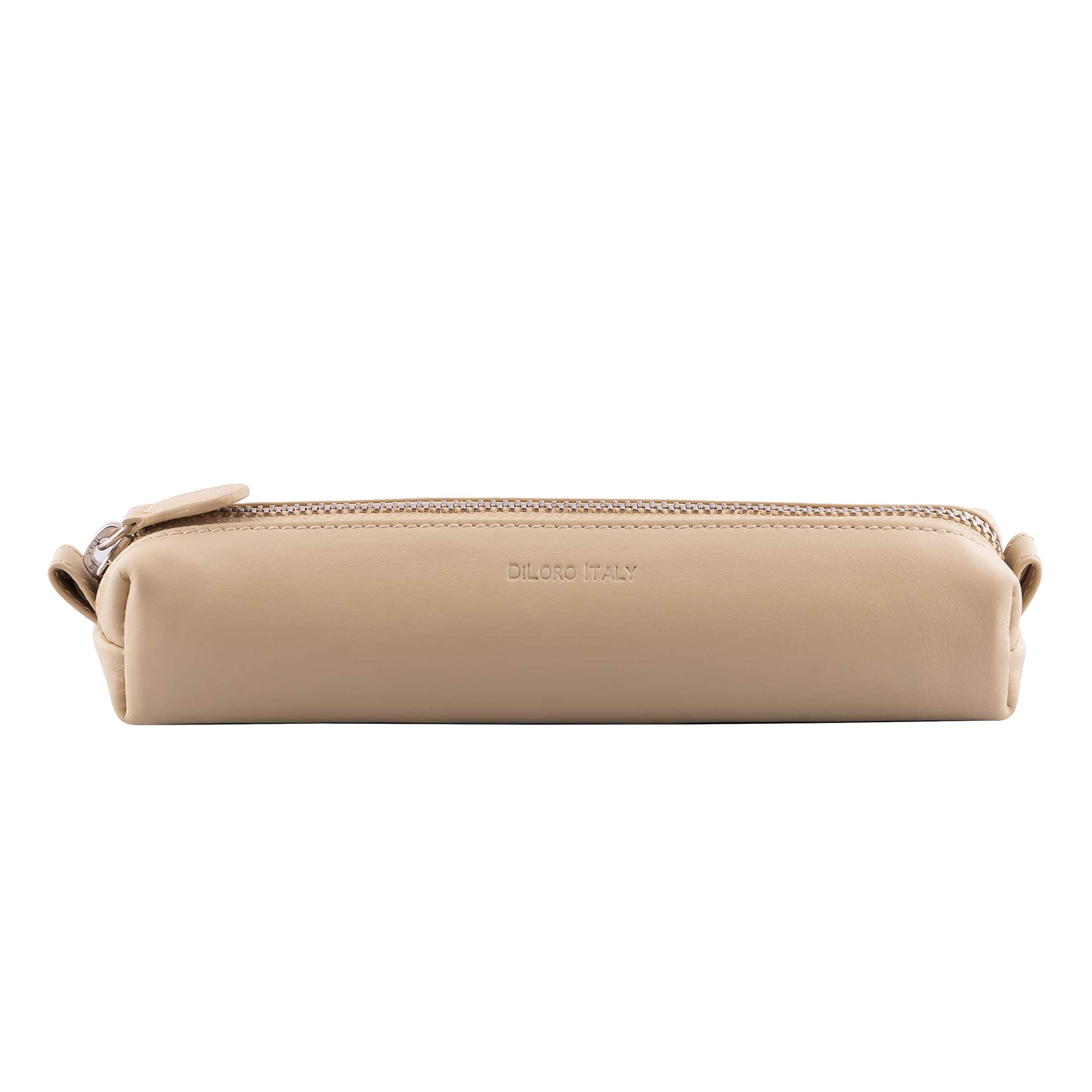 DiLoro Leather Zippered Fountain Ballpoint Rollerball Pens and Pencils Case Holder Pouch Genuine Full Grain Soft Nappa Leather (Beige)