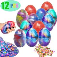 12 PCs Slime Eggs Easter Kit Silly Fluffy Galaxy Slime Planet Putty Easter Basket Stuffers Prefilled Easter Theme Party Favor Supplies Putty Stress Relief Toy for Kids (Include 4 packs color sequins)