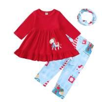 SEVEN YOUNG Kids Toddler Baby Girls Outfits Xmas Dress Shirt+Santa Print Pants Sets Fall Clothes
