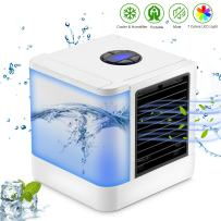 Sendowtek Personal Air Conditioner, Leak-Proof 3-in-1 Mini Desktop Fan, Quiet Air Personal Space Cooling with Independent Water Tank, 7 Colors LED & 3 Speeds for Home Office