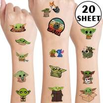 Yoda Temporary Tattoos Art Craft Party Supplies for Kids Star War Theme Birthday Party Baby Shower Yoda Fake Tattoos School Reward, Birthday Gifts