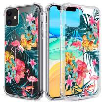 Caka Clear Case for iPhone 11 Floral Clear Case Flower Pattern Design Girly Women Girls Cute Slim Soft TPU Transparent Shockproof Protective Case for iPhone 11 (Flamingo)