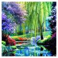 GLymg 5D DIY Diamond Embroidery Willow Landscape Natural Scenery Diamond Painting Full Square Drill Home Decor (15.74X15.74 inch)