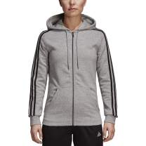 adidas womens Essentials Cotton Fleece 3-stripe Full Zip Hoodie