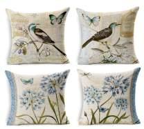 "LYN Cotton Linen Square Throw Pillow Case Decorative Cushion Cover Pillowcase for Sofa 18""X 18"" Set of 4"