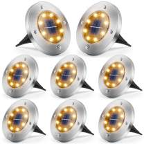 Solar Lights Outdoor, 8 LED Solar Ground Lights Waterproof Solar Garden Lights Disk Lights for Pathway Yard Landscape Patio Walkway Driveway, Cold White, 8 Pack