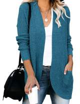 YIBOCK Womens Long Sleeve Open Front Waffle Chunky Knit Cardigan Sweater Outwear with Pockets