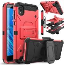Venoro Moto E6 Case, Shockproof Protection Case Cover with Belt Swivel Clip and Kickstand for Motorola Moto E6 (Red)