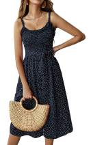 Womens Dresses Summer Beach Sunflower Floral Midi Sundresses Boho Spaghetti Strap Button Down Dress with Belt Pockets