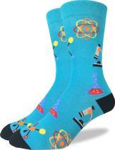 Good Luck Sock Men's Science Crew Socks - Green, Adult Shoe Size 7-12