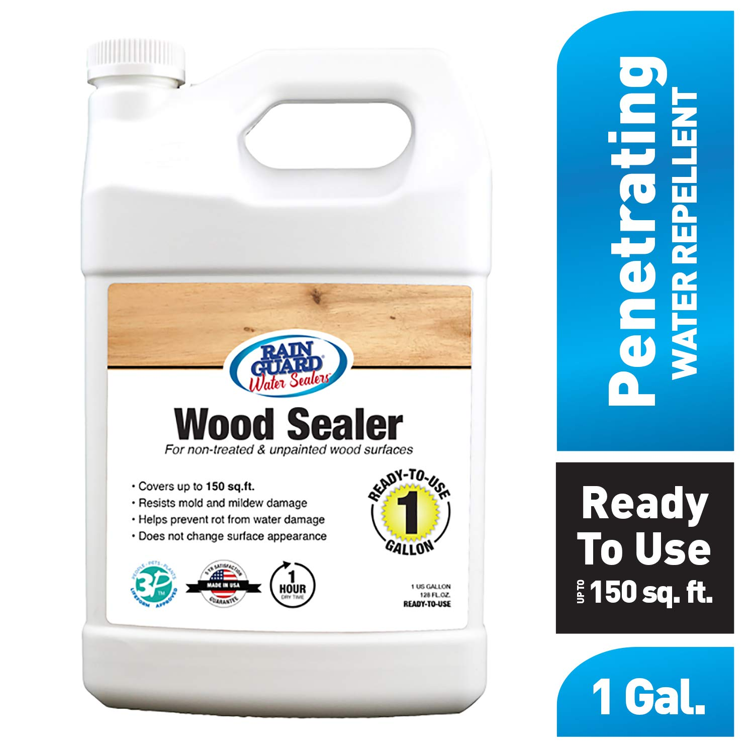 Rain Guard Water Sealers SP-8004 Wood Sealer Ready to Use - Water Repellent for Interior or Exterior Wood - Covers up to 200 Sq. Ft, 1 Gallon, Invisible Clear