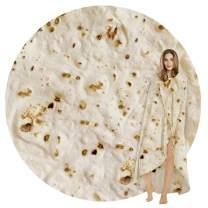 SeaRoomy Burritos Tortilla Throw Blanket, Tortilla Wrap Blanket, Novelty Tortilla Round Blanket Giant Tortilla Round Soft Blanket for Adults and Kids (Light Yellow, 39 inches)