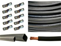 "2 Gauge 2 AWG 10 Feet Black Welding Battery Pure Copper Flexible Cable + 10pcs of 3/8"" Tinned Copper Cable Lug Terminal Connectors + 3 Feet Black Heat Shrink Tubing"