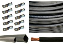 "6 Gauge 6 AWG 10 Feet Black Welding Battery Pure Copper Flexible Cable + 10pcs of 3/8"" Tinned Copper Cable Lug Terminal Connectors + 3 Feet Black Heat Shrink Tubing"
