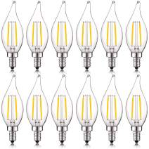 Luxrite 4W Vintage Candelabra LED Bulbs Dimmable, 400 Lumens, 3000K Soft White, LED Chandelier Light Bulbs 40W Equivalent, Flame Clear Glass, Filament LED Candle Bulb, UL Listed, E12 Base (12 Pack)