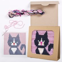 """Sozo - Colorful DIY Needlepoint Embroidery Craft Kit for Beginners. Eco Friendly Package That Turns into a Display Frame, Easier Than Cross Stitch. Size - 8"""" x 8"""" (Dark Kitten)"""