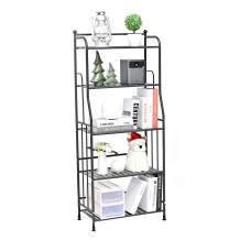 EXQ 5-Layer Metal Iron Sheet with Strong Load-Bearing Multi-Function Storage and Storage Rack Matte Black (21.85Lx11.41Wx52.75H)