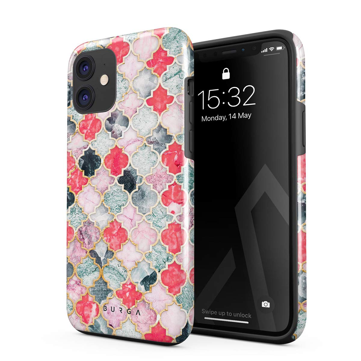 BURGA Phone Case Compatible with iPhone 11 - Sweet Chilli Moroccan Tiles Pattern Marrakesh Mosaic Cute Case for Girls Heavy Duty Shockproof Dual Layer Hard Shell + Silicone Protective Cover