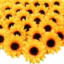 AGEOMET 32pcs 3.5 Inches Artificial Sunflower Heads, 6 Layers of Petals, Fake Silk Sunflowers for DIY Wedding Party Home Decorations
