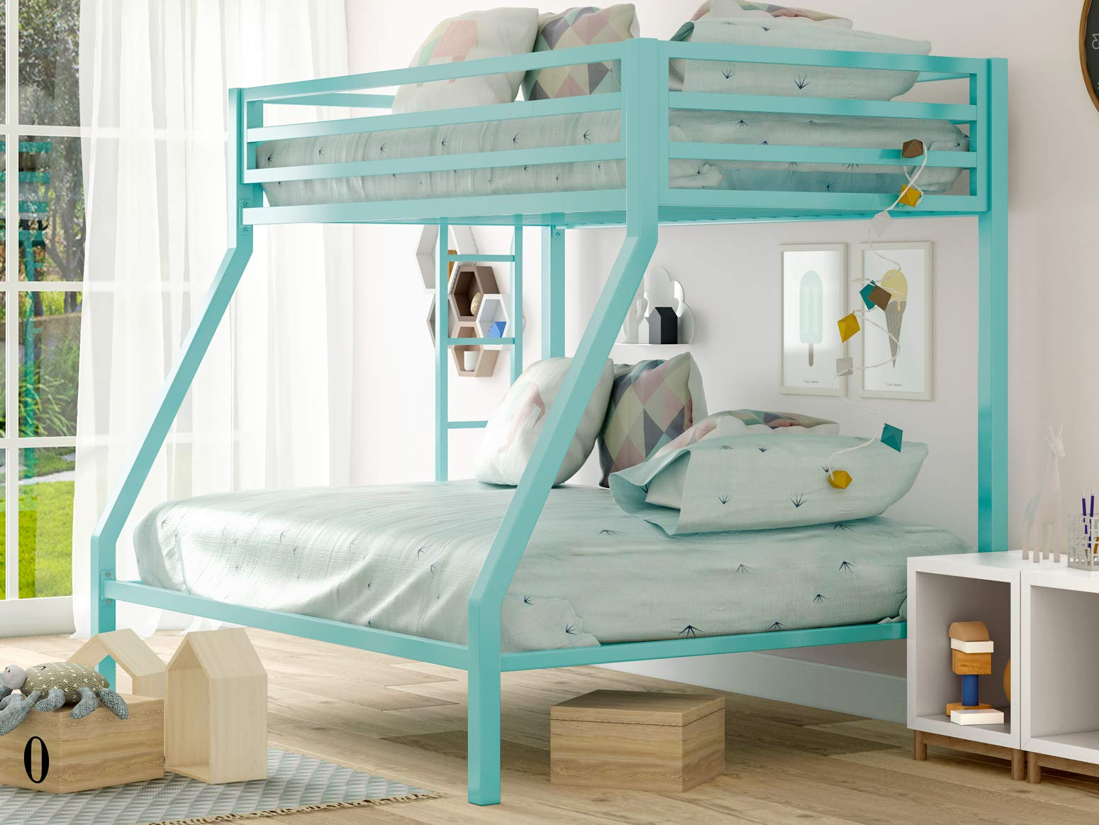 "SHA CERLIN Metal Bunk Bed Twin Over Full Size with Removable Stairs, Heavy Duty Sturdy Frame with 12"" Underbed Storage for Teen & Adults, Teens, No Box Spring Needed, Green"