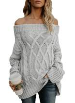 Astylish Women's Sexy Long Sleeve Off Shoulder Loose Cable Knit Pullover Sweater