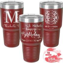 Personalized Tumblers 30oz with Lids and Straws, Your Name or Text Engraved in USA, Vacuum Insulated Travel Coffee Mugs, Stainless Steel Double Wall Thermos, Customized Cups by iProductsUS (Red)