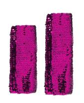 L'vow Sparkling Sequins Stretch Dazzle Arm Sleeves Performance Costume Cuffs Pack of 2