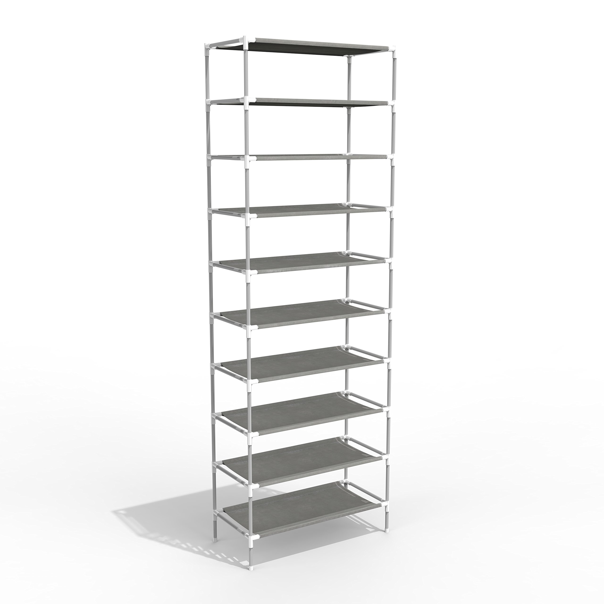 SONGMICS 10-Tier Shoe Tower Rack with Cover 27-Pair Space Saving Shoe Storage Organizer Grey URXJ10G