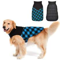 Fragralley Dog Winter Coat, Reversible Waterproof Winter Pet Snow Jacket, Dog Cold Clothes Warm Cotton Vest Windproof Sweaters, Plaid with Reflective, for Small Medium and Large Dogs,Dog Coat