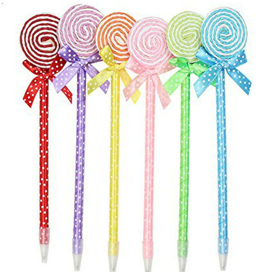 WIN-MARKET Fashion Cute Colorful Cute Kawaii Lovely Flat Lollipop Gel Ball Pens Office School Supply Stationery(8PCS)