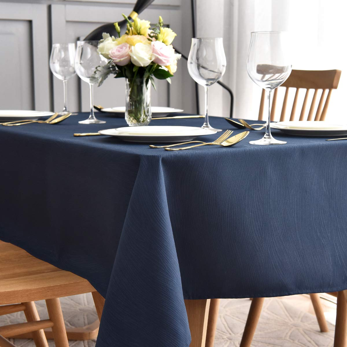 maxmill Jacquard Tablecloth Swirl Design Spillproof Wrinkle Free Oil Resistant Heavy Weight Soft Table Cloth Decorative Fabric Table Cover for Outdoor and Indoor Use Oblong 60 x 120 Inch Navy Blue