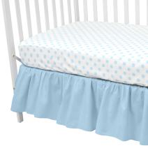 American Baby Company 100% Cotton Percale Standard Crib and Toddler Mattress Bundle, Blue Dots Fitted Sheet and Skirt, for Boys and Girls