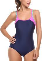 Avidlove One Piece Swimsuit Womens Splice Dual Crossback Athletic Bathing Suit S-XXL