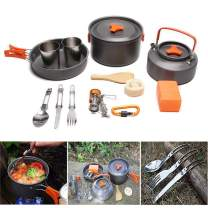 JACKBAGGIO New Outdoor Camping Pan Backpacking Camping Cookware Mess Kit Hiking Cooking Picnic Bowl Pot Pan Sets w/Tableware Lightweight&Durable