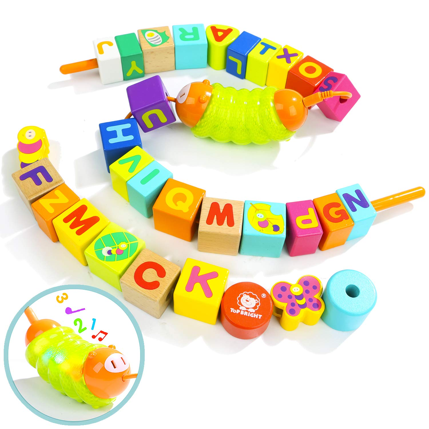 TOP BRIGHT Wooden Lacing Beads for Toddlers Stringing Beads Toy 2 Years Olds Gifts
