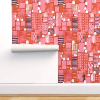 Spoonflower Peel and Stick Removable Wallpaper, Skillshare Whimsical Watercolor Cityscapes Red Pink Geometric City Building Square Navy White Print, Self-Adhesive Wallpaper 12in x 24in Test Swatch