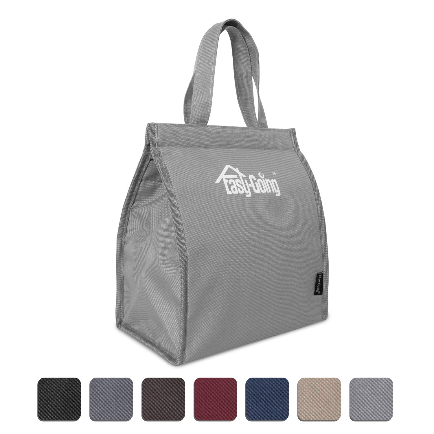 Reusable Insulated bag for hot and cold food, Foldable, Waterproof, Heavy Duty, Eco-Friendly, Insulated Bag for Food Delivery, Picnic, Party, Travel, BBQ (S,Light Gray)