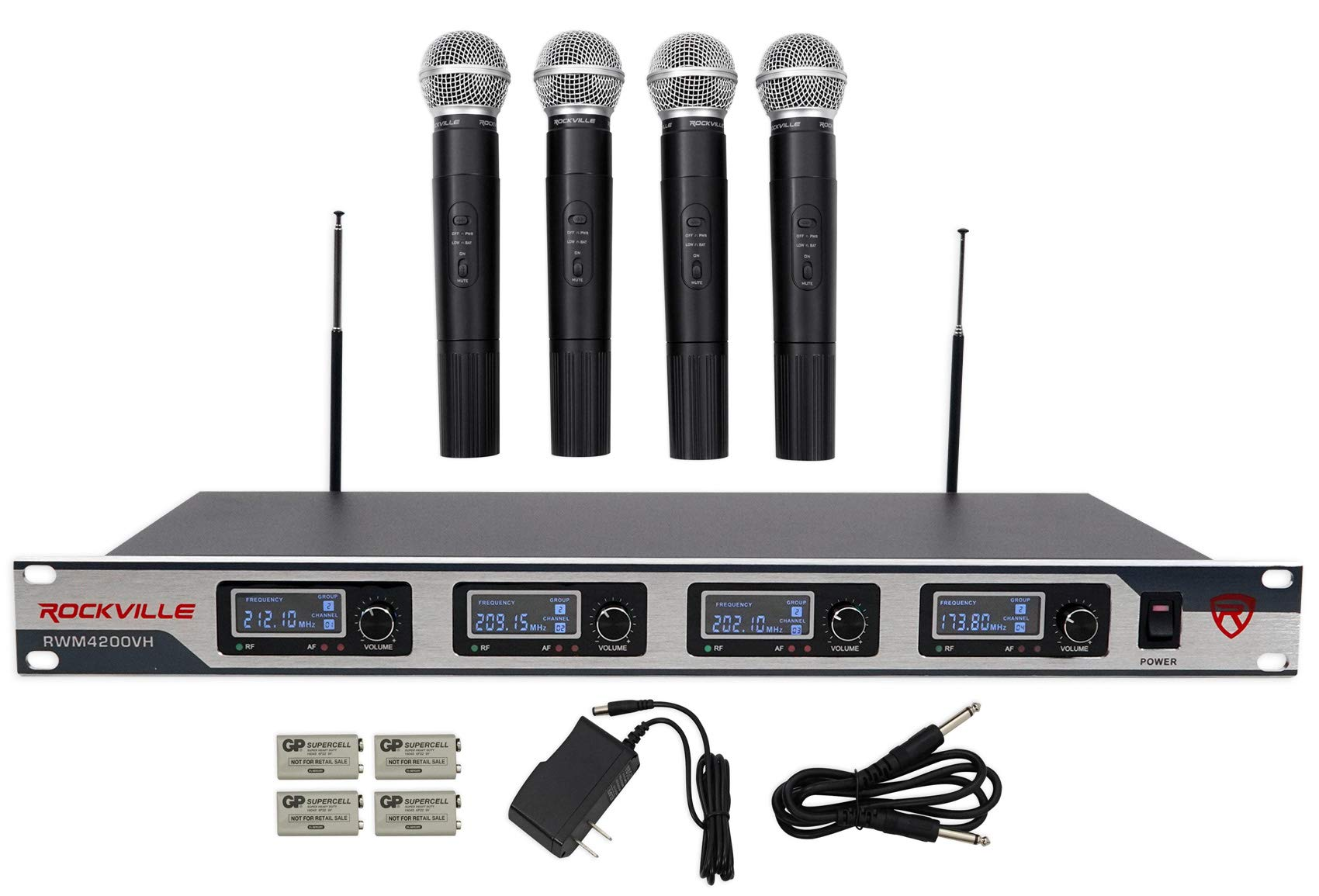 Rockville RWM4200VH VHF (4) Wireless HandHeld Microphones 4 Church Sound Systems