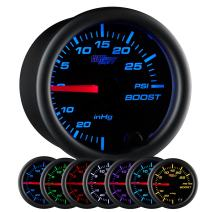 """GlowShift Black 7 Color 30 PSI Turbo Boost/Vacuum Gauge Kit - Includes Mechanical Hose & T-Fitting - Black Dial - Clear Lens - for Car & Truck - 2-1/16"""" 52mm"""